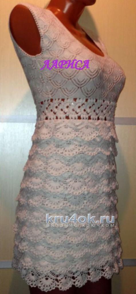 Женское платье Монако крючком. Работа Ларисы Величко вязание и схемы вязания