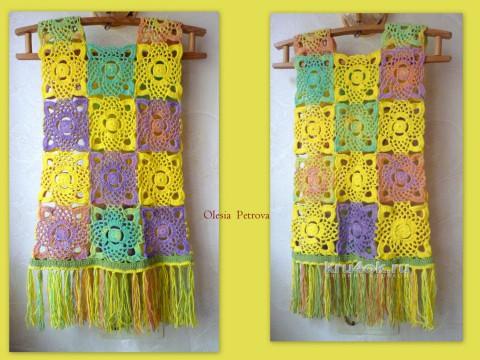 Жилет с бахромой. Работа Олеси Петровой вязание и схемы вязания