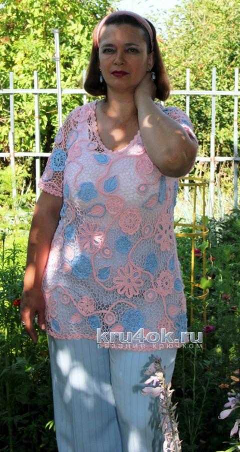 Туника летняя Розовый рассвет. Работа Светланы Шевченко (Sova Fotina) вязание и схемы вязания