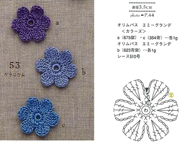 Вязаные цветы крючком схемы для начинающих - вязание