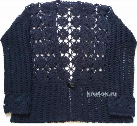 Ажурная кофточка крючком. Работа Ирины вязание и схемы вязания