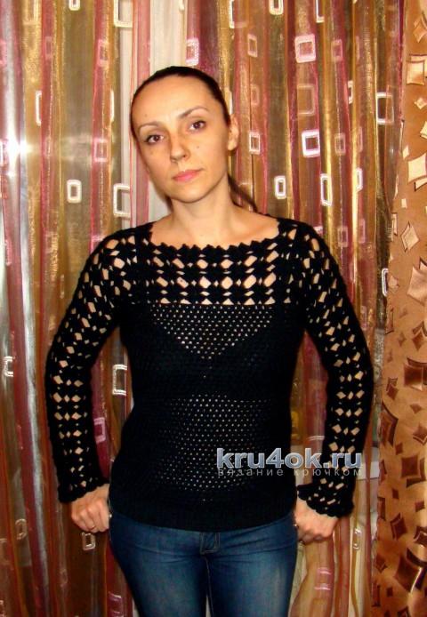 Чёрный пуловер с ажурным верхом. Работа Евгении Руденко вязание и схемы вязания