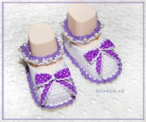 Пинетки - сандалии крючком. Работа Роксаны вязание и схемы вязания