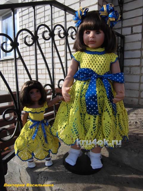 Платье для девочки крючком. Работа Виктории вязание и схемы вязания