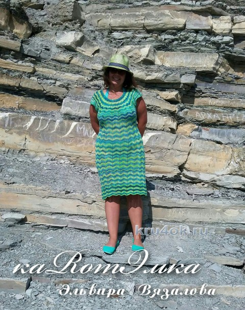 Платье узором зиг заг от мастерицы Эльвиры Вязаловой вязание и схемы вязания