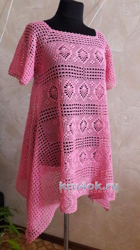 Розовая туника ажурная крючком в стиле Бохо