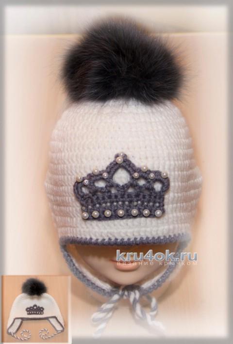 Теплая шапочка для девочки крючком. Работа Роксаны