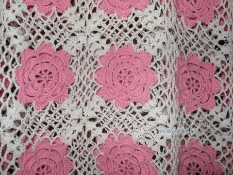 Топик из квадратных мотивов. Работа Елены вязание и схемы вязания
