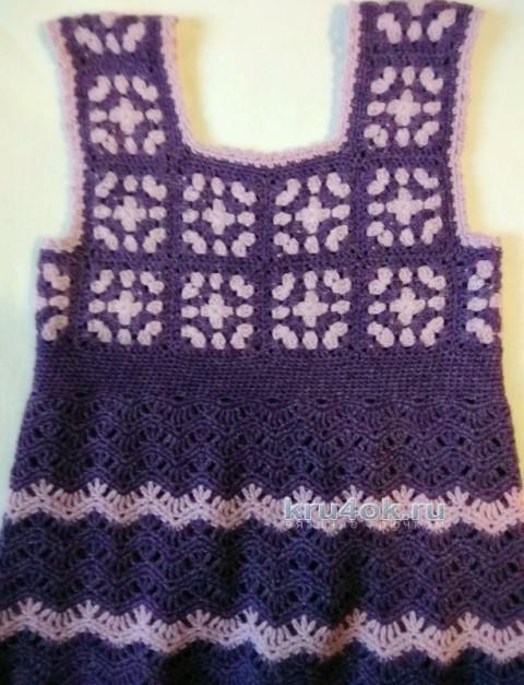 Вязаный сарафан для девочки. Работа Ирины вязание и схемы вязания