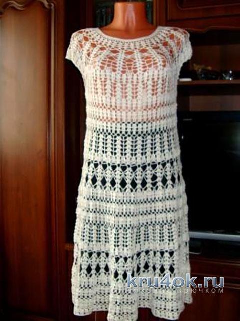 Вязаное крючком платье. Работа Марии