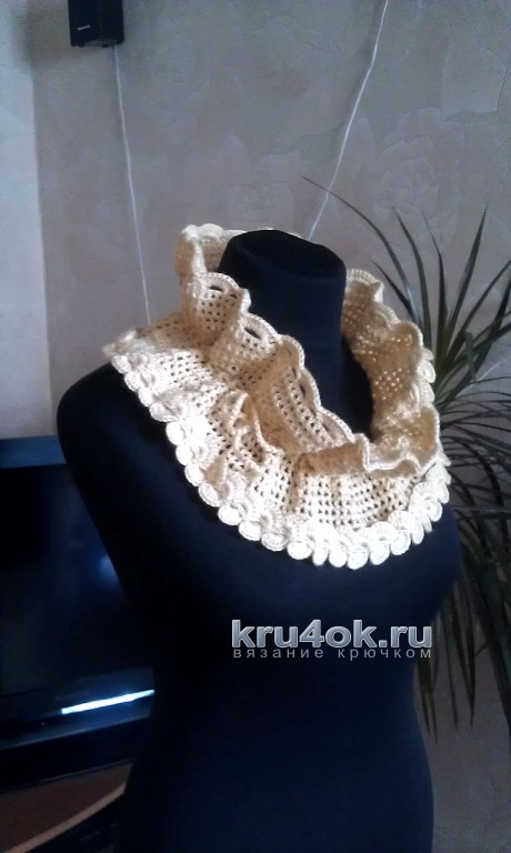 Ажурный воротник - снуд. Работа Елены Саенко вязание и схемы вязания