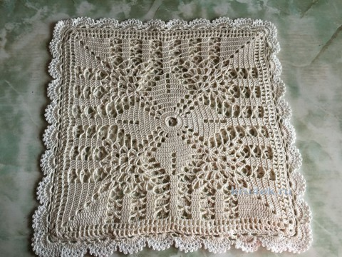Чехол на подушку крючком. Работа Надежды Борисовой вязание и схемы вязания