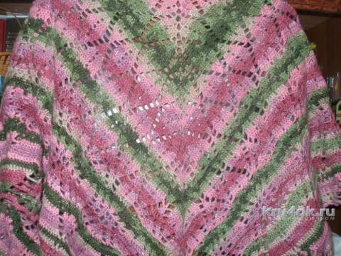 Цветная шаль крючком. Работа Елены вязание и схемы вязания