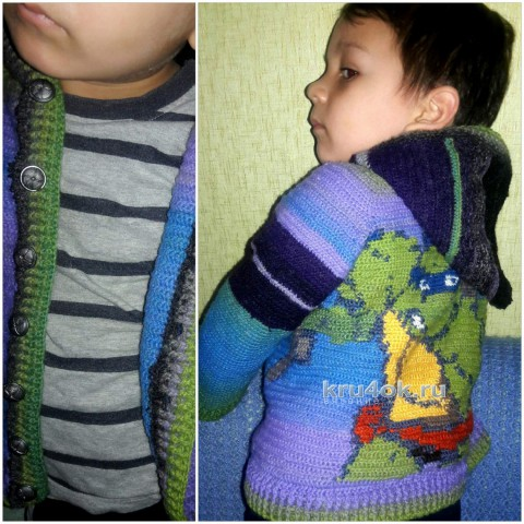 Кофта на мальчика крючком Черепашка Лео. Работа Оксаны вязание и схемы вязания