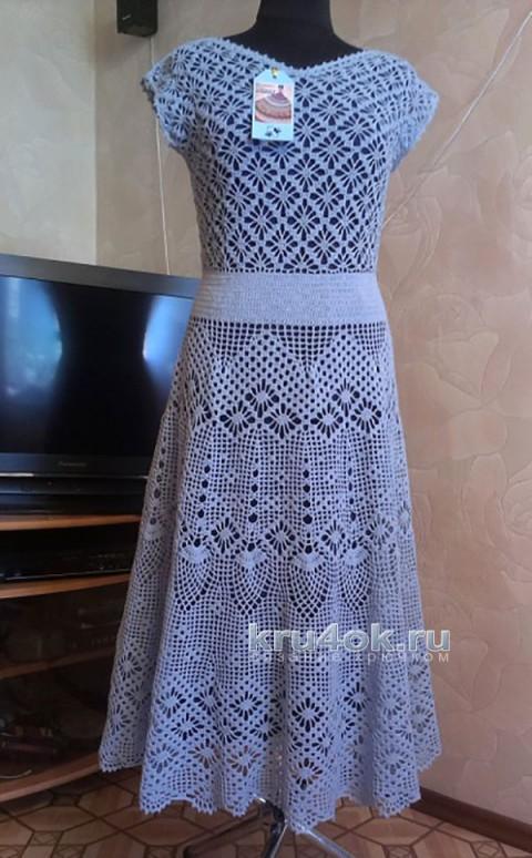 Платье ажурное Прованс, филейное вязание крючком
