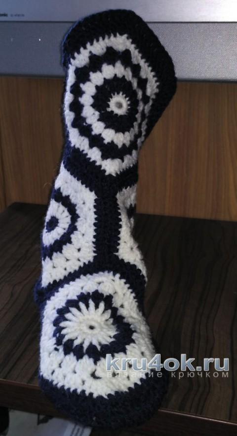 Вязаные теплые носочки крючком. Работа Александры вязание и схемы вязания