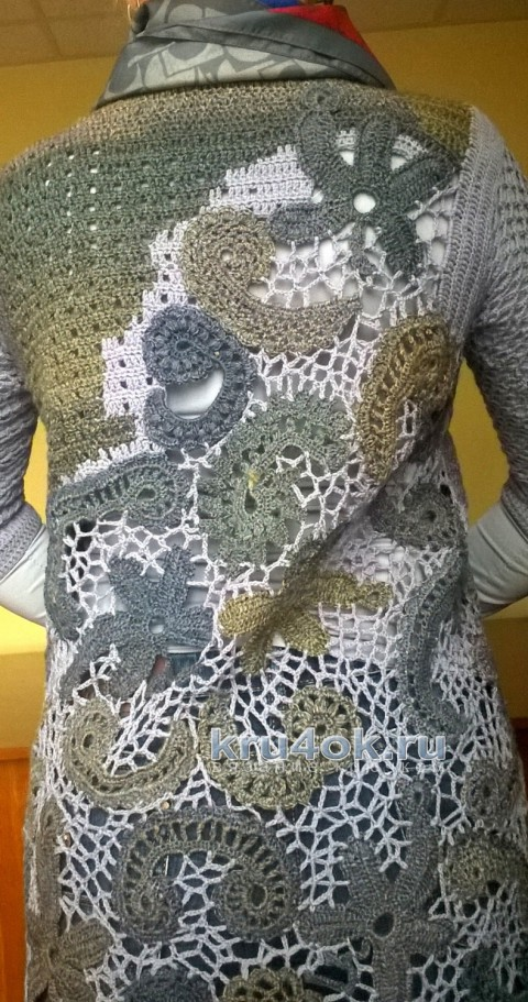 Жакет с элементами ирландского кружева. Работа Елены вязание и схемы вязания