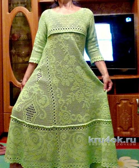 Женское платье крючком. Работа Ирины вязание и схемы вязания