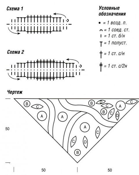 Схема вязания платка: