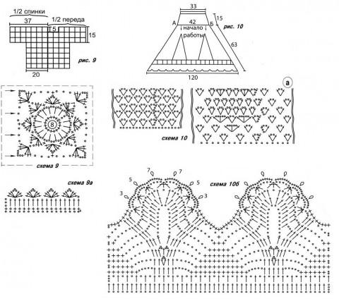 Схемы вязания юбки и жакета: