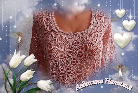 Ажурная туника Розовое утро. Работа Натальи Авдохиной вязание и схемы вязания