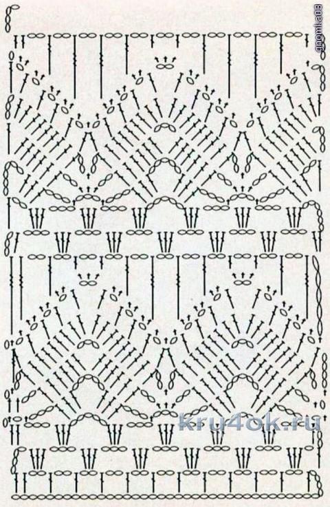 схема вязания ажурного топа
