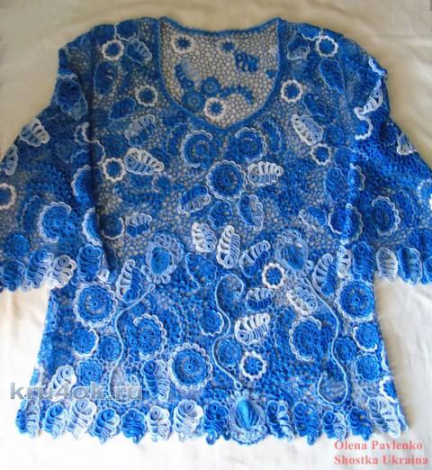 Блуза Роспись небом. Работа Елены Павленко вязание и схемы вязания