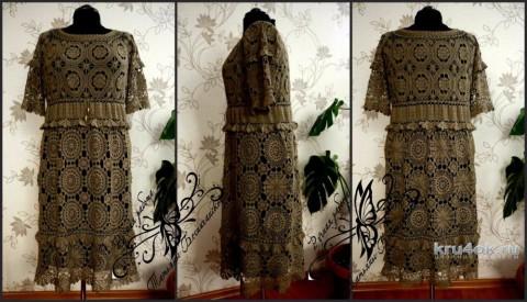 Платье крючком. Работа Татьяны Беспичанской вязание и схемы вязания