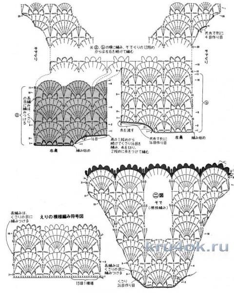 Платье Морская волна. Работа TatVen вязание и схемы вязания