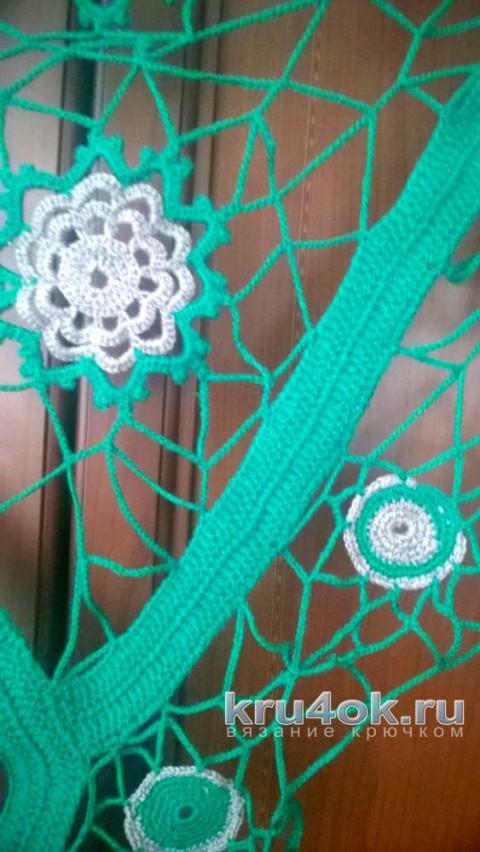 Платок в технике фриформ. Работа Елены вязание и схемы вязания