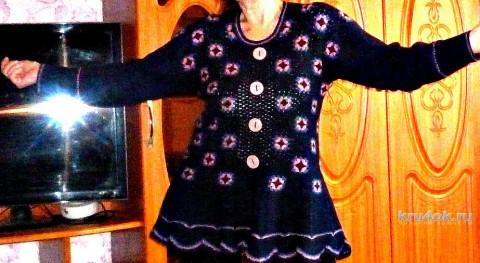 Пуловер из бабушкиных квадратов. Работа Ирины вязание и схемы вязания