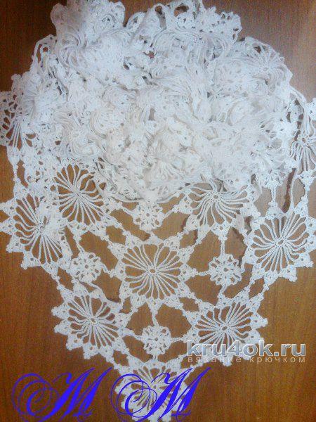 Шаль крючком Снежинка. Работа Марины Михайловны вязание и схемы вязания