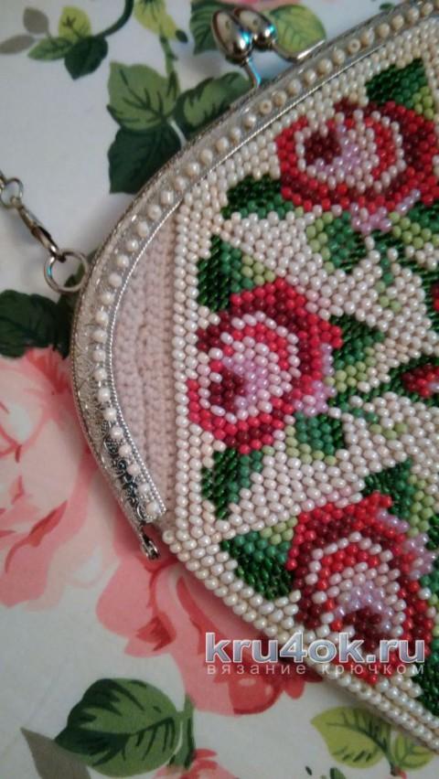 Сумочка крючком с бисером. Работа Ксения вязание и схемы вязания