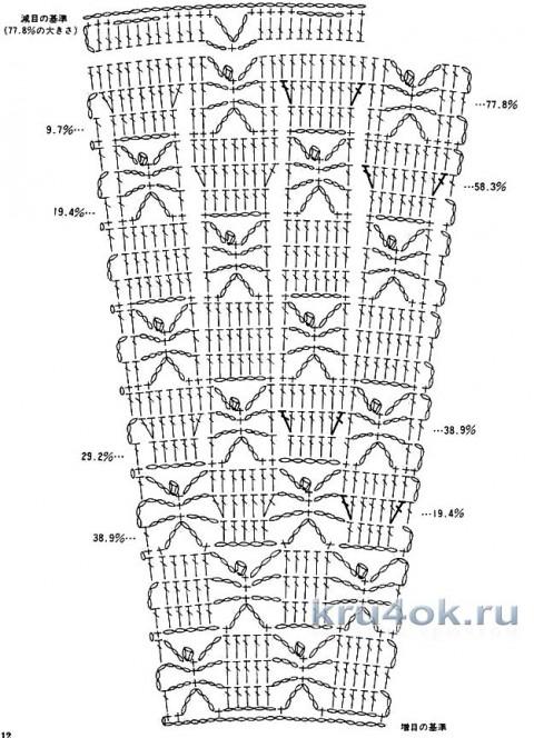 Туника с кокеткой в  технике ирландского кружева. Работа Елены вязание и схемы вязания