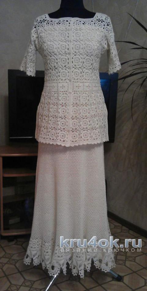 Вязаный крючком женский костюм. Работа Елены Саенко вязание и схемы вязания