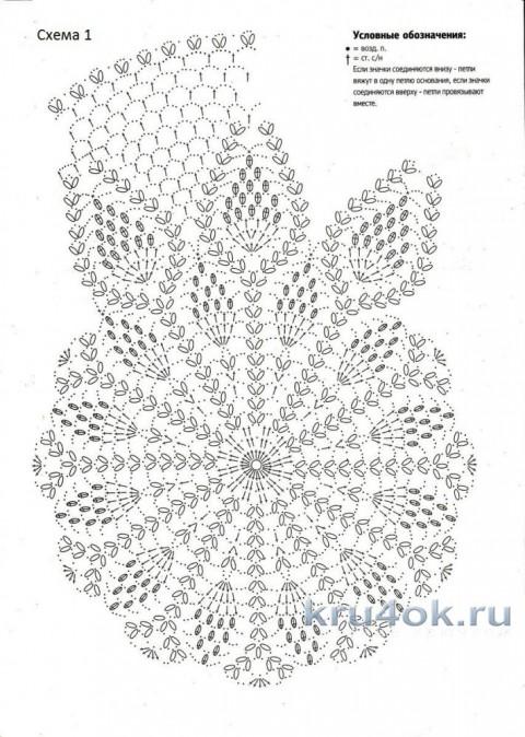 Схема вязания ананасов для берета крючком