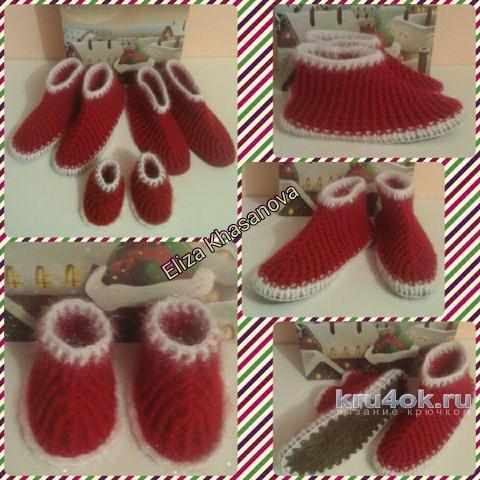 Домашние тапочки крючком. Работы Eliza Khasanova вязание и схемы вязания