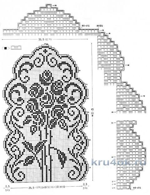 Дорожка в технике филейного вязания. Работа Елены Шевчук вязание и схемы вязания