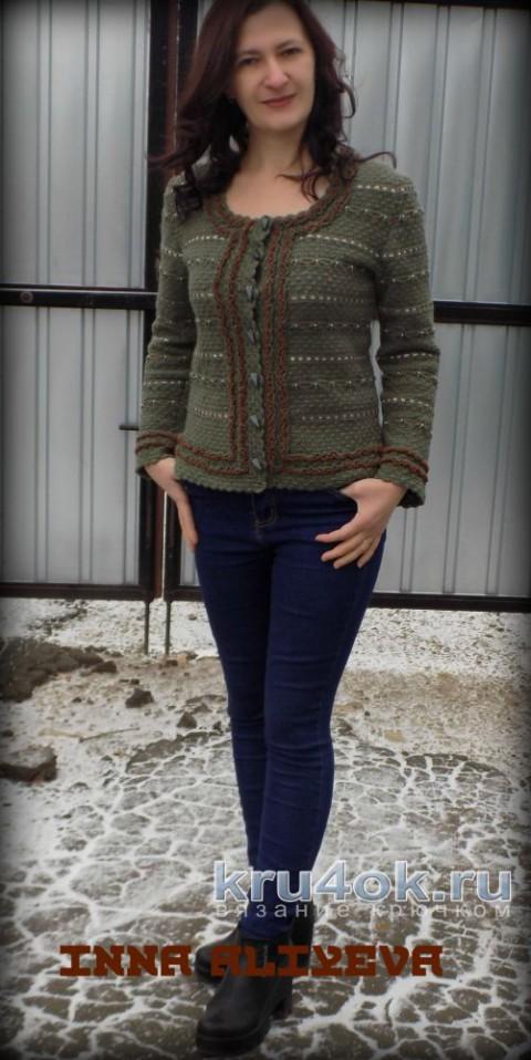 Кофточка цвета полыни в стиле Шанель. Работа Inna Aliyeva вязание и схемы вязания