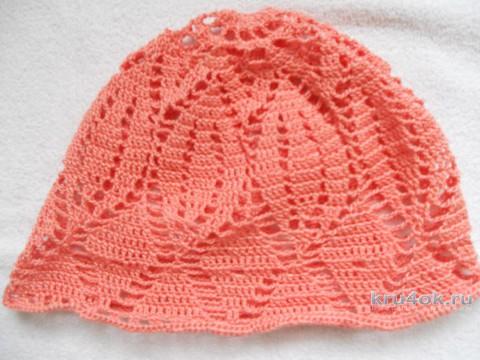 Персиковая шапочка для девочки. Работа Эльвиры Ткач вязание и схемы вязания