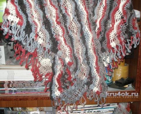 Шаль крючком. Работа Елены вязание и схемы вязания