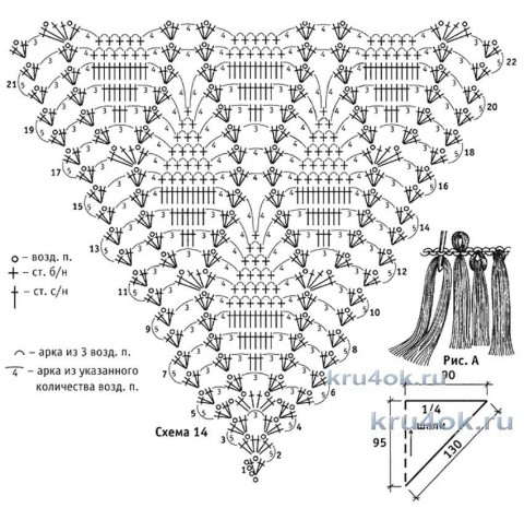 Шаль вязаная крючком. Работа Галины Коржуновой вязание и схемы вязания
