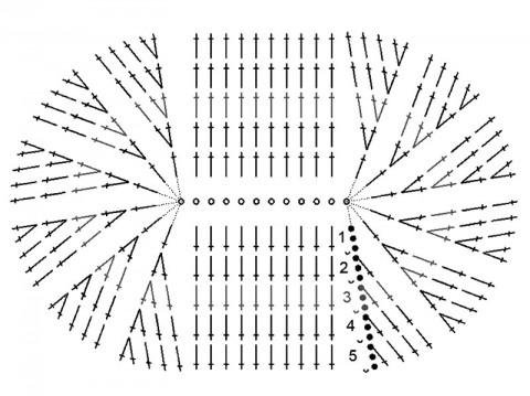 схема вязания подошвы пинеток