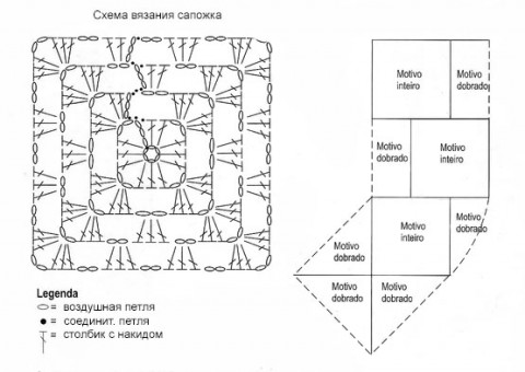схема вязания и сборки носка