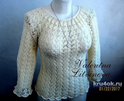 Ажурная блузка цвета экрю. Работа Валентины Литвиновой вязание и схемы вязания