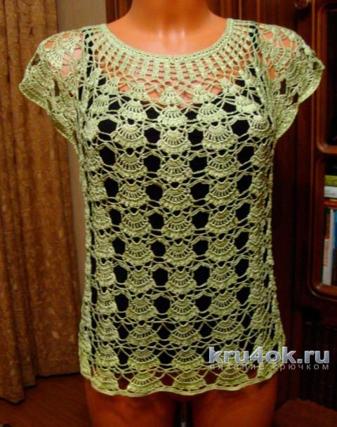 Ажурная кофточка. Работа Марии вязание и схемы вязания