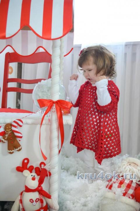 Ажурная туника для девочки. Работа Ксюши Тихоненко вязание и схемы вязания