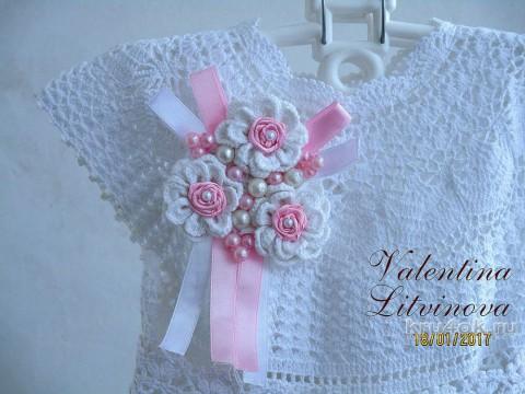 Детское платье крючком. Работа Валентины Литвиновой вязание и схемы вязания