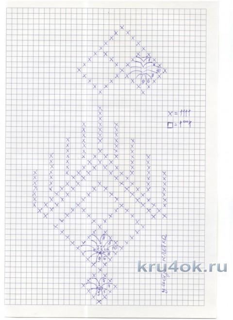 Филейная туника Белоснежка. Работа Елены Саенко вязание и схемы вязания