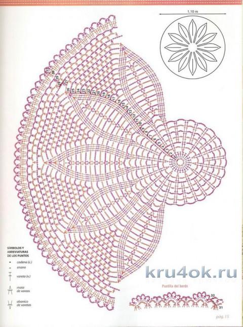 Круглая шаль крючком. Работа Галины Андреевны вязание и схемы вязания